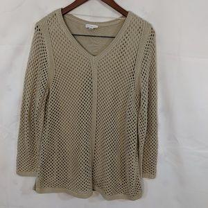 Tan Croft & Barrow fishnet knit sweater